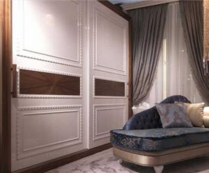 Шкаф купе с эмитацией филенки и фигурной накладкой, ламинация, шпон, эмаль Могилёв